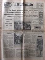 Journal L'Humanité (2 Juin 1967) Conflit Israël/Egypte - Débat Pleins Pouvoirs - D Darrieux - Seznec - Journaux - Quotidiens