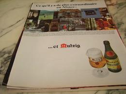 ANCIENNE PUBLICITE BIERE MUTZIG ET L ALSACE 1968 - Alcools