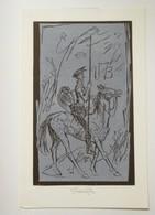 Ex-libris Illustré Tchecoslovaquie XXème - Don Quichotte à Cheval - Initiales V.B. Par Jaroslav Vodràzka - Bookplates