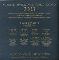 2003 San Marino - DIVISIONALE FDC - N.° 9 Pezzi In Euro Con 5 € Argento Argent Silver - Allegoria - Confezione (4 F - San Marino