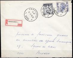 1071 Met Stempel Charleroi 1 Op Aangetekende Brief - 1953-1972 Lunettes