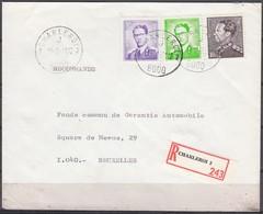 1068 + 1029 Met Stempel Charleroi 2 Op Aangetekende Brief - 1953-1972 Lunettes