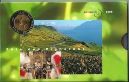 SVIZZERA 1999 - Vignerons - DIVISIONALE FDC - N.° 9 Pezzi - Con 5 + 5 CHF (Fr. Sv.) - Confezione Originale (3 Foto) - Svizzera