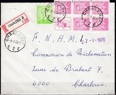 1068 Stempel Charleroi 2 Op Aangetekende Brief - 1953-1972 Lunettes