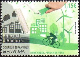 CEPT / Europa 2016 Andorre Espagnol N° 428 ** Think Green - Ecologie, Vélo - Europa-CEPT