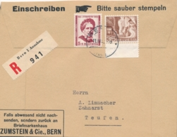 Schweiz / Helvetia - 1952 - 5 Cent Pro Juventute + 35c On R-coverfront From Bern ToTeufen - Brieven En Documenten