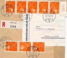 Schweiz / Helvetia - 1952 - 8x 5 Cent Telegrafie On R-coverfront From Kriens ToTeufen - Brieven En Documenten