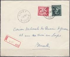 925 Met Stempel Ciney Op Aangetekende Briefvoorzijde - 1953-1972 Lunettes