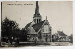 CPA 95 Fontenay En Parisis Animé Place De L'église Soldats Guerre WWI 1918 - France