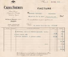 75 PARIS IVé  FACTURE 1922 Orfèvrerie De Table Métal & Argent CATEL  _ X16 - 1900 – 1949