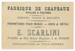 Carte Commerciale Fabrique De Chapeaux Scarlini, Pailles Et Feutres - Nimes - Publicités