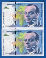 50  Fr  2  Billets  Suite - 50 F 1992-1999 ''St Exupéry''