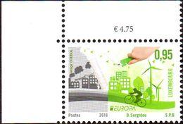 CEPT / Europa 2016 Luxembourg N° 2035 ** (Coin De Feuille **) Think Green - Ecologie, Vélo - Europa-CEPT