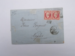 TIMBRES SUR LETTRE 80 C ROSE FONCE AVEC CACHET PD DANS UN RECTANGLE - 1862 Napoleon III