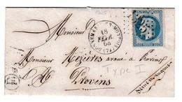 SEINE Et MARNE  G.C.1325 N°29 I + CàD T15 DONNEMARIE-EN-MONTOIS (73) Sur LSC Du 18/02/1868  Boite Rurale (F)? => PROVINS - Postmark Collection (Covers)