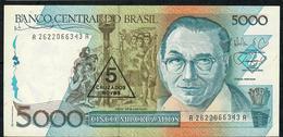 BRAZIL P217a 5 CRUZADOS NOVOS/5000 CRUZADOS 1989 #A2622 Signature 29 UNC. - Brésil
