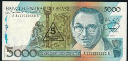 BRAZIL P217a 5 CRUZADOS NOVOS/5000 CRUZADOS 1989 #A3113 Signature 29 UNC. - Brésil