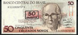 BRAZIL P223b 50CRUZEIROS/50 CRUZADOS NOVOS 1990 # A5132 UNC. - Brésil