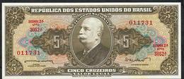 BRAZIL P176a 5 CRUZEIROS 1962 Serie #3052 FIRST SIGNATURE UNC - Brésil