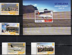 ST. HELENA , 2018, MNH, AIRPORT PROJECT III, PLANES, INAUGURATION OF AIRLINK FLIGHT, 4v+S/SHEET - Airplanes
