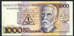 BRAZIL P216b 1 CRUZADO NOVO/1000 CRUZADOS 1987 Signature 26 #B0263 UNC. - Brésil