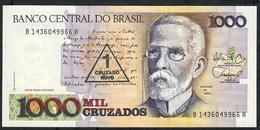 BRAZIL P216b 1 CRUZADO NOVO/1000 CRUZADOS 1987 Signature 26 #B1436  UNC. - Brasile