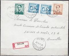 1028 + 1066 + 1069B Met Stempel Dison Op Aangetekende Brief - 1953-1972 Lunettes