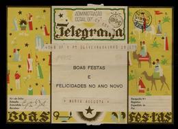 Christmas Presepe Camels Animals Sheepards Flowers Fleurs Télégramme Entier Postal Stationery Portugal Noel 1939 #9752 - Noël
