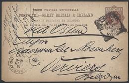 6gb.Postcard. Post 1890 Year. Bradford (British Empire). Verviers (Belgium). Stamp Of The Postman. - 1840-1901 (Victoria)