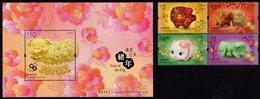 Hong Kong - 2019 - Lunar Year Of The Pig - Mint Stamp Set + Souvenir Sheet - 1997-... Sonderverwaltungszone Der China