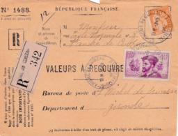 Jacques Cartier 75c Sur Devant De Valeurs à Recouvrer En Recommandé - Marcophilie (Lettres)