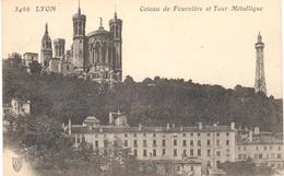 POSTAL    LYON  -FRANCIA  -COTEAU DE FOURVIÈRE ET TOPUR MÉTALLIQUE - Lyon