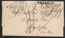 1834 - LAC - PRESCOT, ANGLETERRE - A BOULGNE - E PAID 14 FEB 1834 - INGLETERRE PAR CALAIS . C.`.D BOULOGNE SUR MER. TAXE - Marcophilie (Lettres)