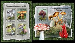 CENTRAL AFRICA 2018 - Poisonous Mushrooms - Mi 7550-3 + B1711; CV=30 € - Pilze