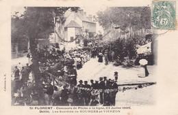 18. SAINT FLORENT. CPA . RARETÉ. CONCOURS DE PÊCHE DU 23 /7/1905. DÉFILÉ LES SOCIÉTÉS DE BOURGES ET VIERZON.ANNÉE 1907 - Saint-Florent-sur-Cher