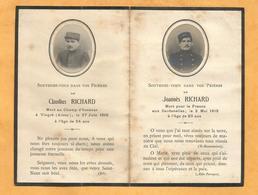 FAIRE PART  DECES POILU  DARDANELLES VINGRE AISNE WWI 1915 1916 - Documents
