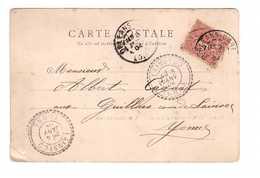 Marcophilie Cachet Facteur Boitier Lainsecq 1904 Yonne Sur Cpa Timbre Semeuse Lignée 10 Centimes - Marcophilie (Lettres)
