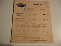 LE PROTECTOR, Collage Des Bandages, Vélo, Motocycles, 1900, Feuillet Publicitaire - Reclame