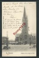 St. Ghislain. Eglise, Marché, Attelage, Fontaine, Animation. 1904. Scan Recto/verso. - Saint-Ghislain