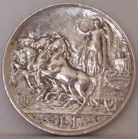 Regno D'ITALIA VITTORIO EMANUELE III 1 Lira 1917 QUADRIGA BRIOSA Argento Silver - 1861-1946 : Regno