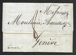 """1808 - LAC PARIS P En Triangle Ouvert A GENÈVE, SUISSE. Ms """" Léman"""". - 1801-1848: Précurseurs XIX"""