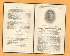 IMAGE GENEALOGIE FAIRE PART DECES MORTUAIRE  BARON DE LA ROQUE COMMANDANT 14 EME BCA EMPURANY WW2 TAIN L HERMITAGE - Décès