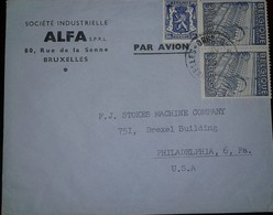 O) 1948 BELGIUM, TEXTILE INDUSTRY SCT 382 3.15fr -COAT OF AMRS SC 275 50c, ALF-BRUXELLES, TO USA - Covers & Documents
