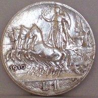 Regno D'ITALIA VITTORIO EMANUELE III 1 Lira 1910 QUADRIGA VELOCE Argento Silver - 1861-1946 : Regno