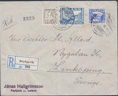 1934. Air Mail. 10 Aur Blue. Perf. 12½x14 + 5 Aur Jochumsson + 35aur Gullfoss. __ REY... (Michel 175B) - JF310234 - 1918-1944 Administration Autonome