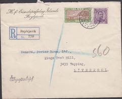 1929.  50 AUR Vik + 25 Aur Christian X. REYKJAVIK 21. VIII 29. Rec. To Liverpool. Aby... (MICHEL 117 + 90) - JF310235 - 1918-1944 Administration Autonome