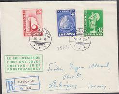 1940. NEW YORK WORLD FAIR.. FDC. REYKJAVIK 30. 4 39. Rec To Sweden.  (MICHEL 204-206) - JF310238 - 1918-1944 Administration Autonome