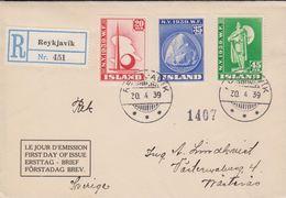 1940. NEW YORK WORLD FAIR.. FDC. REYKJAVIK 30. 4 39. Rec To Sweden.  (MICHEL 204-206) - JF310240 - 1918-1944 Administration Autonome