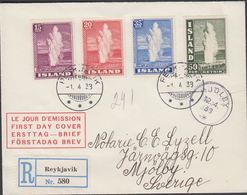1938. Geysir. FDC REYKJAVIK -1. 4. 38. Rec. MJÖLBY 12. 4 38. (MICHEL 193-196) - JF310242 - 1918-1944 Administration Autonome