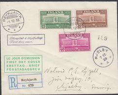 1938. UNIVERSITAS ISLANDIAE.. FDC REYKJAVIK -1. 12. 38. Rec. MJÖLBY 7. 12. 38 A. (MICHEL 200-202) - JF310243 - 1918-1944 Administration Autonome